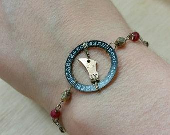 Steampunk Bracelet Watch Gears Ruby Black Spinel
