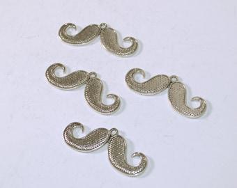 15 PC Mustache Man facial Hair Funny Silver Tone Metal Alloy Charm Pendants Nickel Free AZ461
