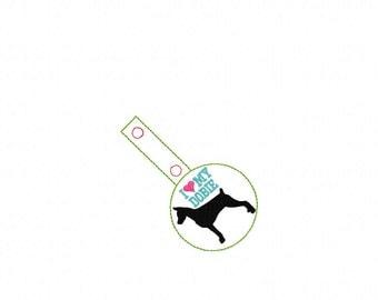 I Love My Dobie - FEMALE - Doberman Pinscher  In The Hoop - Snap/Rivet Key Fob - DIGITAL Embroidery Design