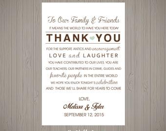 Customizable Wedding Reception Thank You Card - Wedding Thank You Sign Printable -  Wedding - Wedding Thank You