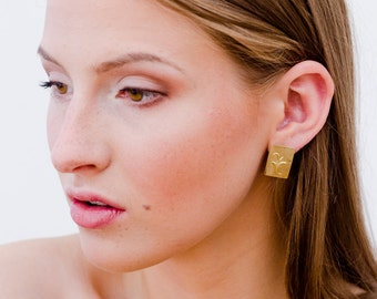 Gold plated rectangular leaf ornament earrings. Handmade of Sterling Silver. One of a Kind. Each pair is unique! Perfect braidsmaid gift