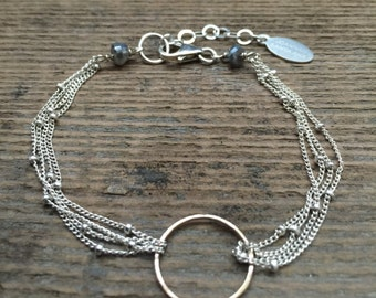 Multi-Strand Eternity Bracelet in Sterling Silver/ 14 Karat Gold Filled