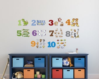 10 Counting Numbers Decals Set Learning to count Stickers Wall Vinyl or Fabric Decals Animals Alphabet Peel and Stick