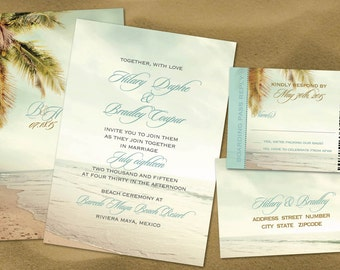 Vintage Palm Beach Wedding Invitation Set With Reply Boarding Pass Sand