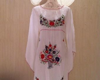 Vintage dress-cotton dress-white dress-mexican dress-vintage sundress-vintage beach cover-boho dress-hippie-white vintage-