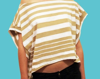 SALE; Women T-shirt, Loose Fit Top, Off The Shoulder Top, Cotton  Lycra Shirt, Women Top, Asymetrical Top, Stripped Shirt