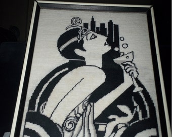 Art Deco Woman Needlepoint Picture