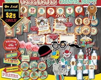 On Sale! Circus Party Package,Vintage Circus Birthday Package,First Carnival Birthday Party Printable,Carnival Party Decoration,Circus Decor
