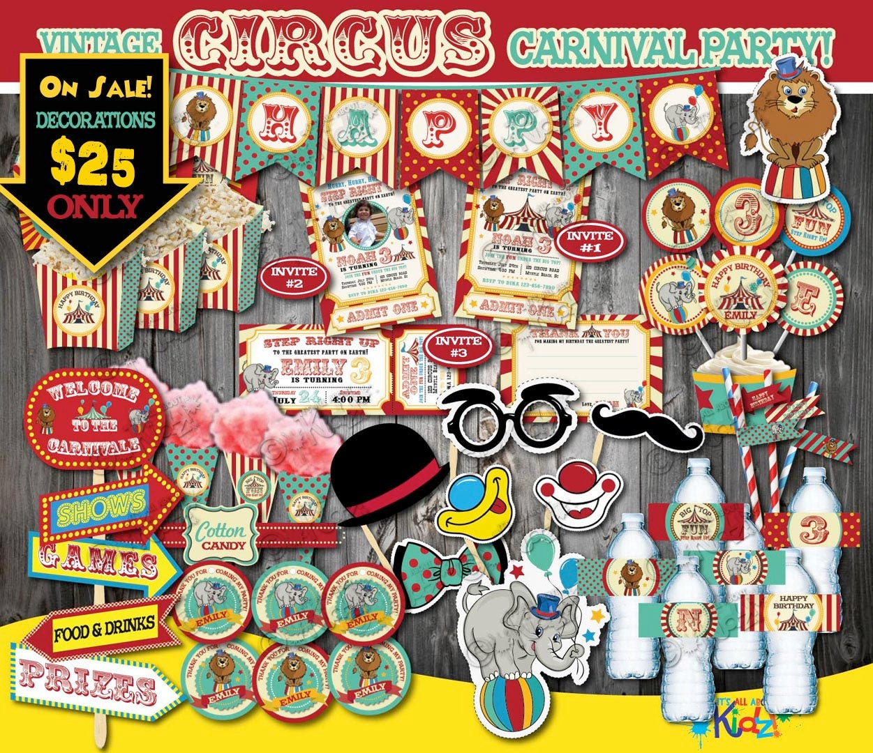On Sale Circus Party Packagevintage Circus Birthday