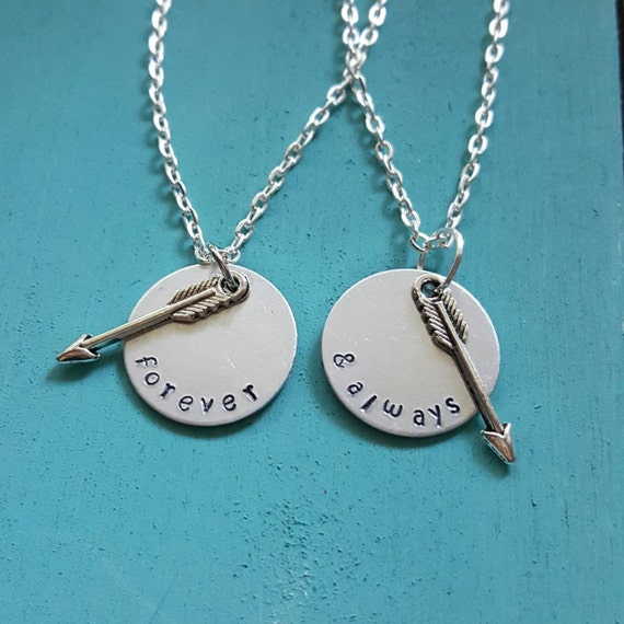 forever and always necklace set best friend or by megal0d0nn