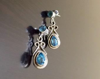 Blue Topaz Earrings - Art Deco Earrings - Blue Topaz Drop Earrings - Dangling Earrings - Pear Shape Topaz Earrings - Handmade Earrings