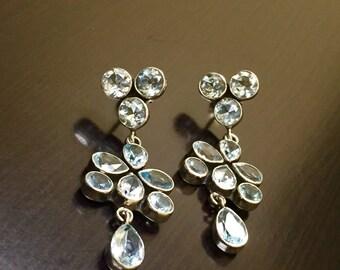 Blue Topaz Drop Earrings - Blue Topaz Earrings - Art Deco Earrings - Pear Shape Dangling Earrings - Topaz Earrings - Handmade Earrings