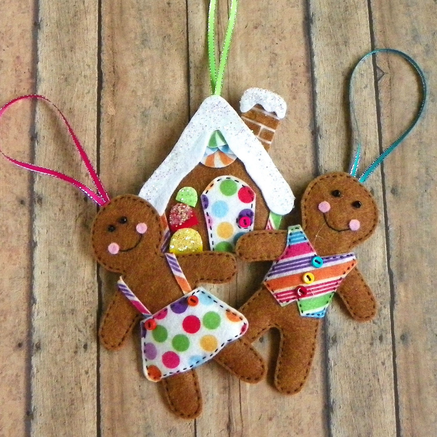 Felt Gingerbread Christmas Tree Ornaments Set Of 3 House Boy