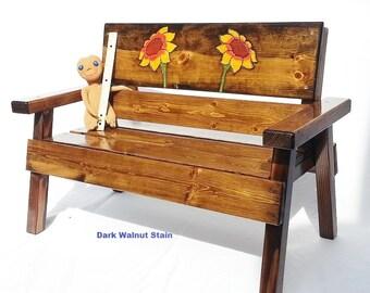 Childrens Country Garden Wood Bench, Kids Indoor/Outdoor Patio Furniture, Cottage, Farm, Folk Art Toddler Decor, Engraved Sunflower Panel
