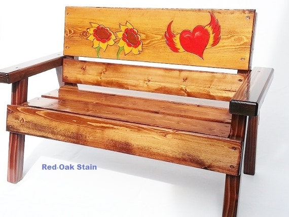 Wood Outdoor Kids Bench Engraved Painted Furniture Heart