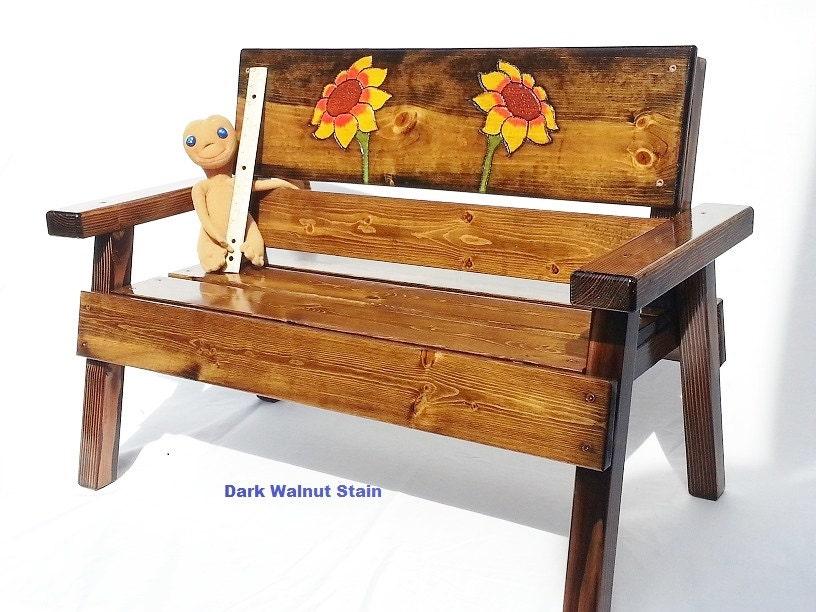 Childrens Country Garden Wood Bench Kids Indoor Outdoor Patio