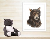 Woodland Nursery Art, Bear Cub Art, Bear Watercolor, Animal Art, Wildlife Portrait, Bear Nursery, Bear Art, Bear Painting - 11x14
