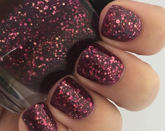 Cranberry Twist-Berry Crelly with Gold and Iridescent Glitter Indie Polish by Noodles Nail Polish