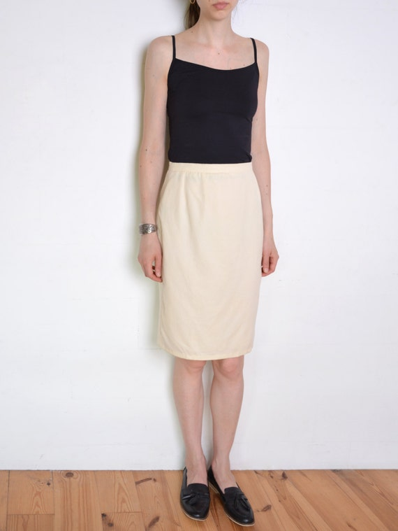 90's cream wool pencil skirt beige white high by WoodhouseStudios