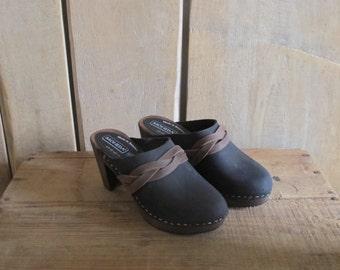 Swedish leather clogs