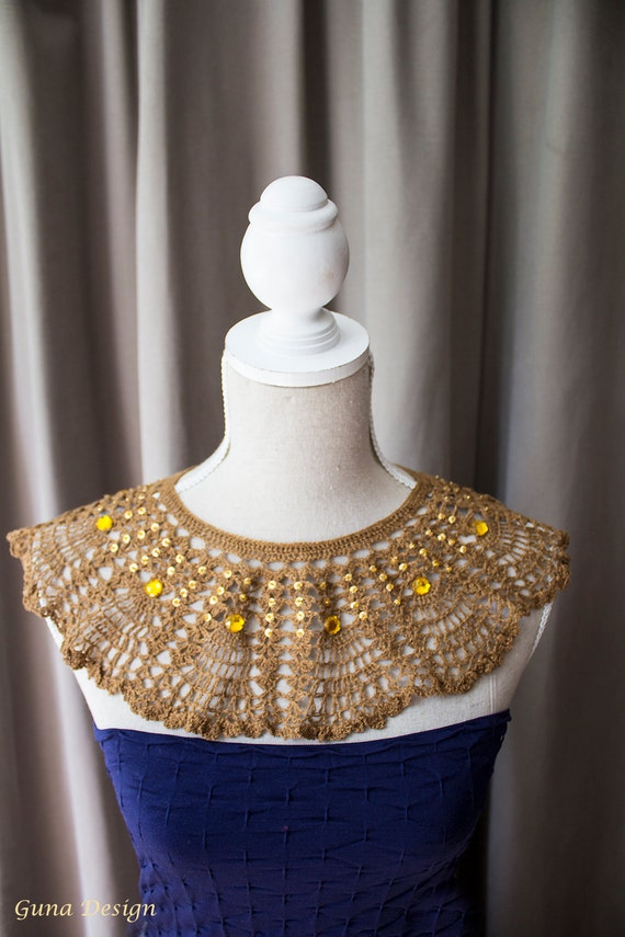 Crochet collar- Egyptian style collar necklace with beads, MADE TO ORDER
