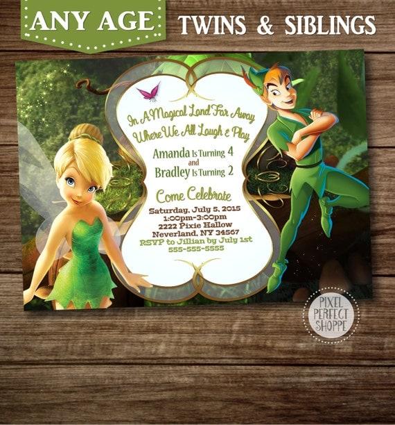 Items similar to TINKERBELL and PETER PAN Invitation, Tinkerbell and Ariel Birthday Invitation ...