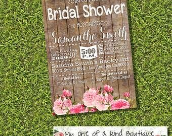 Bridal Shower invitation bachelorette engagement country chic rustic wood flowers wedding digital printable invitation 13660