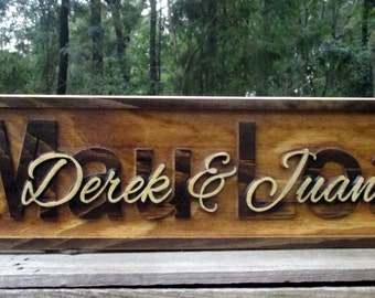 Personalized Couple Gift Family Name Signs 3D Carved Hawaiian Sign Personalized Wedding Gift Wood Carved Sign Hawaiian Decor Palm Tree Art
