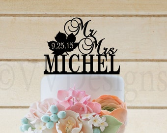 """Wedding Acrylic Cake Topper 6"""" long Maple Leaf Fall Wedding"""