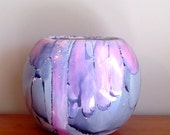 Kute Creations Signed Pink and Purple Ceramic Vase