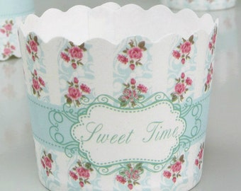 CLEARANCE SALE! Baby Blue Rose Floral Baking Cups Muffins Cups Treat Cups (10)