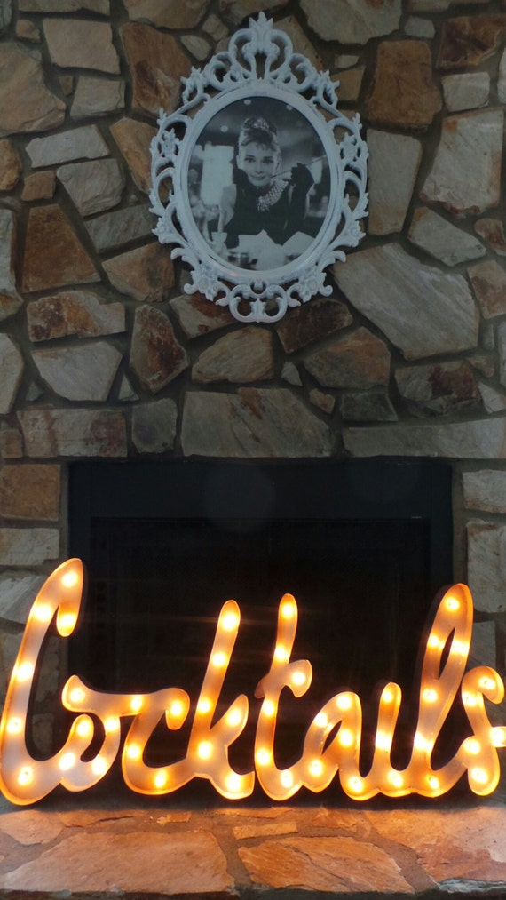 Items similar to COCKTAILS Cursive Light-Up Marquee Sign