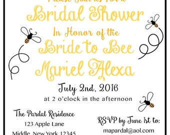 Custom Printable Bridal Shower Invitation - Bride to Bee Themed - DIY PDF Wedding Personalized Bee Floral Chalkboard Black Yellow