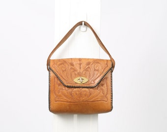 1960s TOOLED Woven Leather Tan Brown Top Handle Floral Black Handbag Shoulder Boho Hippie Festival Purse Vintage Retro Bag