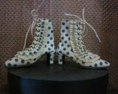 Grey dot tall boot with ruffle for SD bdj Marbled Halls design