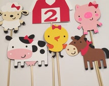 Set of 6 red girl farm barnyard animals centerpiece with bows and bling happy birthday