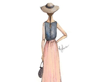 Fashion Illustration- On the Boardwalk- Print
