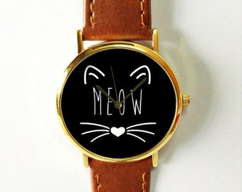 Graduation Gift, Meow Cat  Watch, Pet Lover Gift, Gift for Her, Cats Jewelry,Birthday Vintage Style Leather Watch, Women Watches, Cute Gift