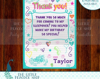 Tween Teen doodle Thank you card! PERSONALIZED note- Matching teal invitation and more available!