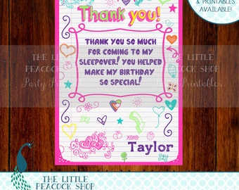 Tween Teen doodle Thank you card! PERSONALIZED note- Matching pink invitation and more available!