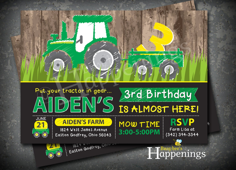 Tractor Birthday Invitation Tractor Invitation Farm Birthday