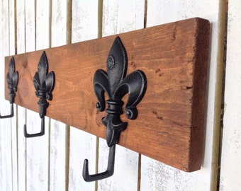 Coat rack - rustic decor - reclaimed wood coat rack - fleur de lis