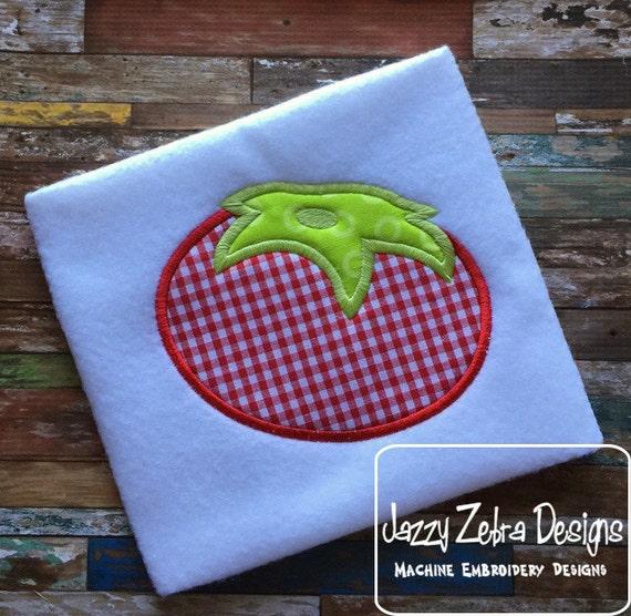 Tomato Applique embroidery Design - vegetable appliqué design - tomato applique design