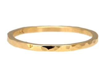 Polished Hammered Band in 14kt Rose, White or Yellow Gold