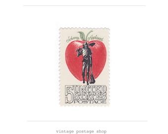 10 Unused Vintage Postage Stamps - 1966 5c Johnny Appleseed - Item No. 1317