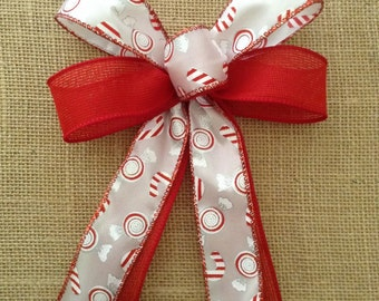 Christmas Peppermint Decorative Bows / Red and White Christmas Bows / Peppermint Christmas Tree Bows / Handmade and Design in wired ribbon