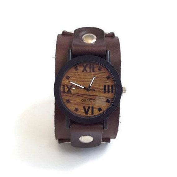 wood watch for men leather cuff watch wooden texture watch wood watch for men leather cuff watch wooden texture watch leather band dark brown wood grain