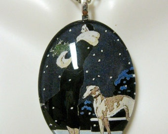 Greyhound in the snow pendant and chain - DGP04-006