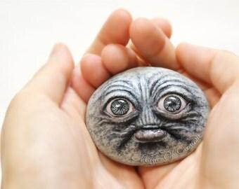 Unusual original sculpture, creative stone art: OOAK realistic artwork, a surprised awakened stone! For lovers of unusual unique artworks!