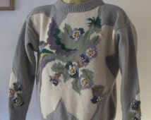 Hand Knitted SWEATER Pullover JUMPER Floral motif Pearls WOOL Knit Handmade Crafted Indie